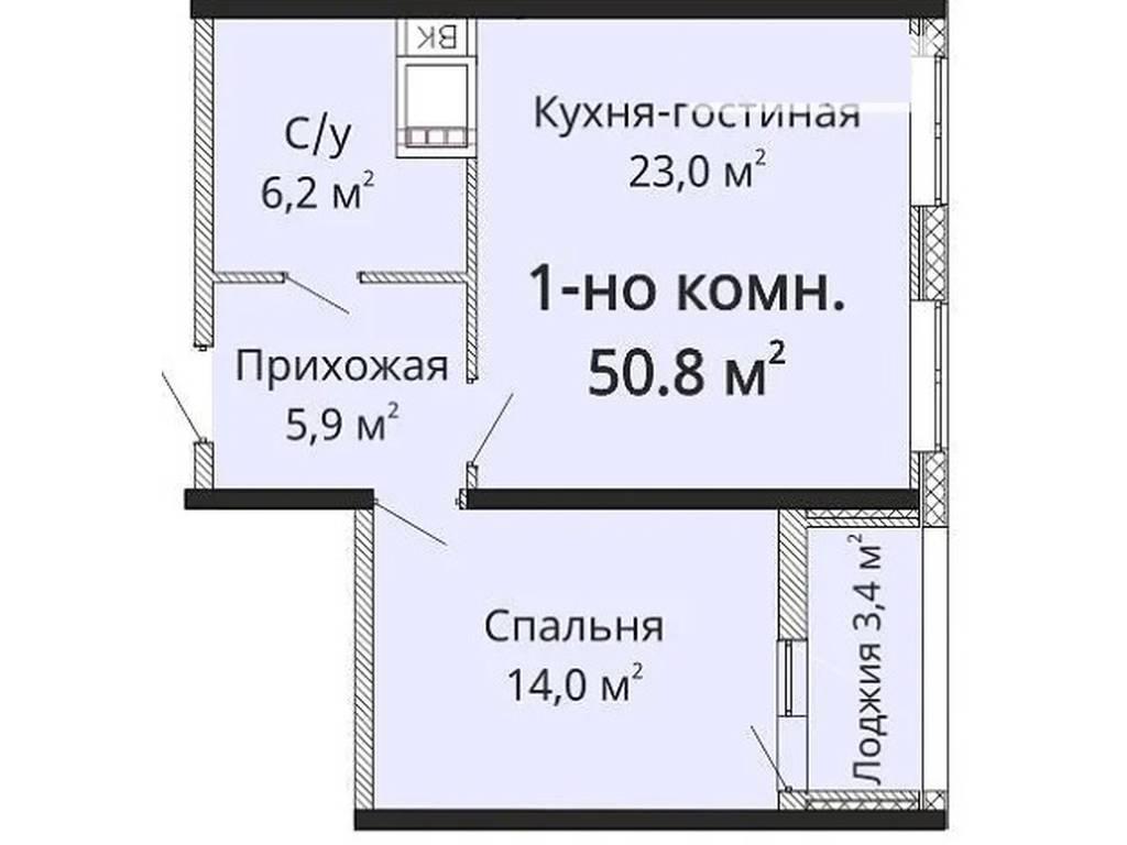 1-комнатная квартира, 52.00 м2, 47000 у.е.