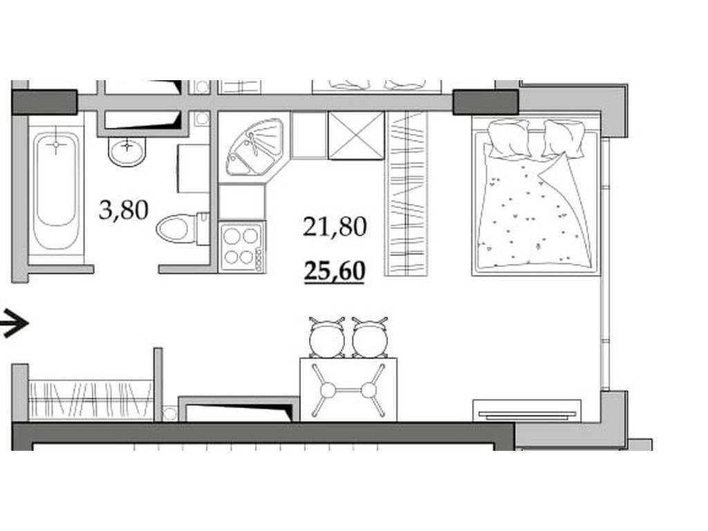 1-комнатная квартира, 25.60 м2, 17536 у.е.