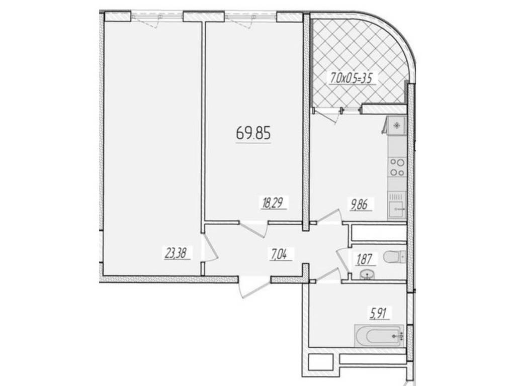 2-комнатная квартира, 70.00 м2, 59900 у.е.