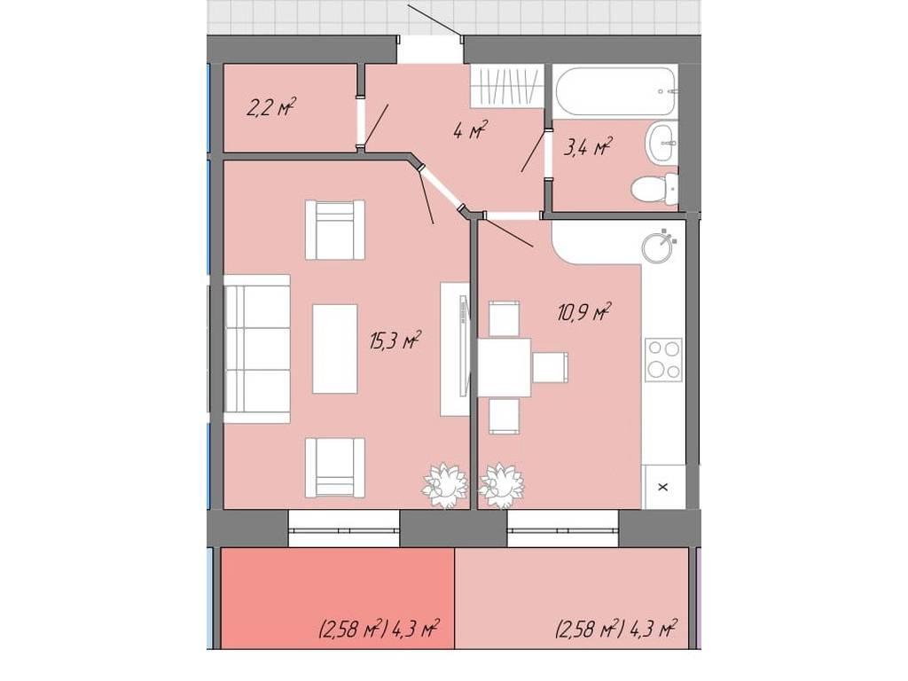 1-комнатная квартира, 41.00 м2, 28500 у.е.