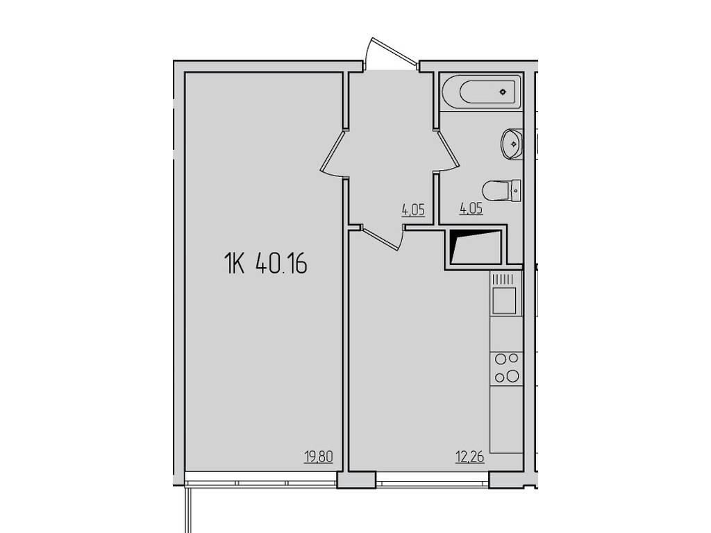 1-комнатная квартира, 40.00 м2, 34000 у.е.