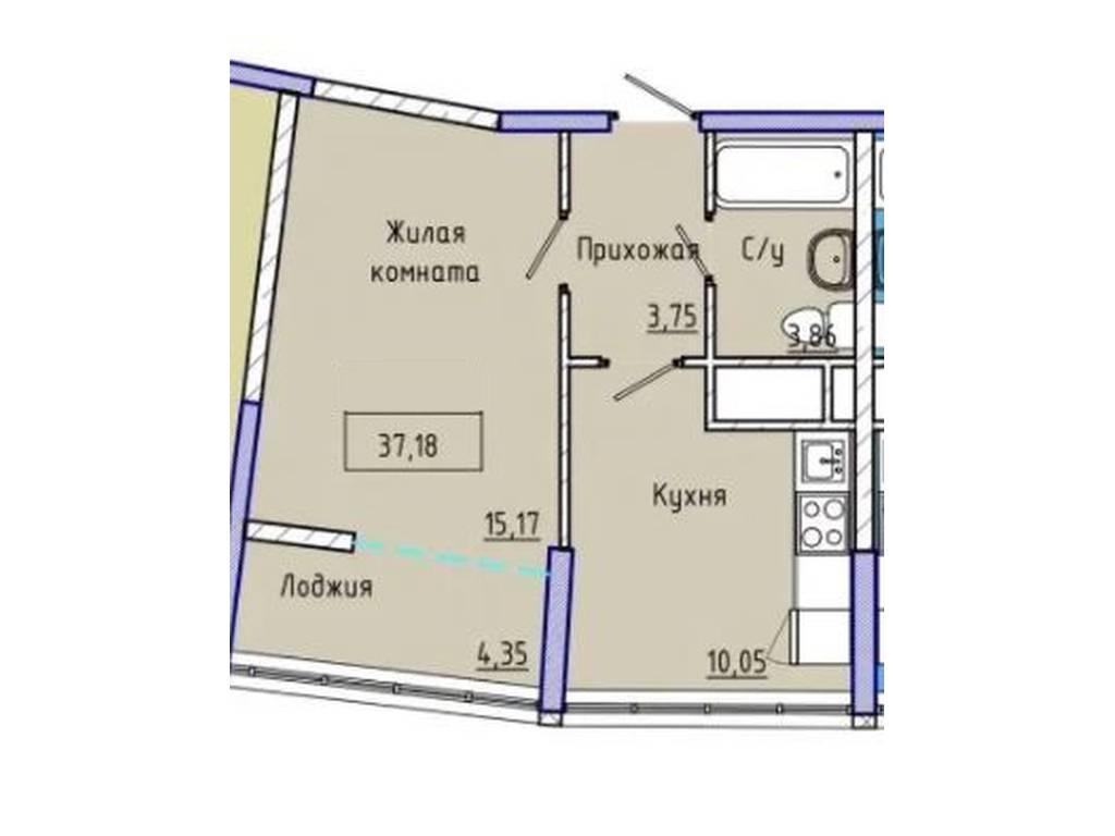 1-комнатная квартира, 41.00 м2, 46000 у.е.