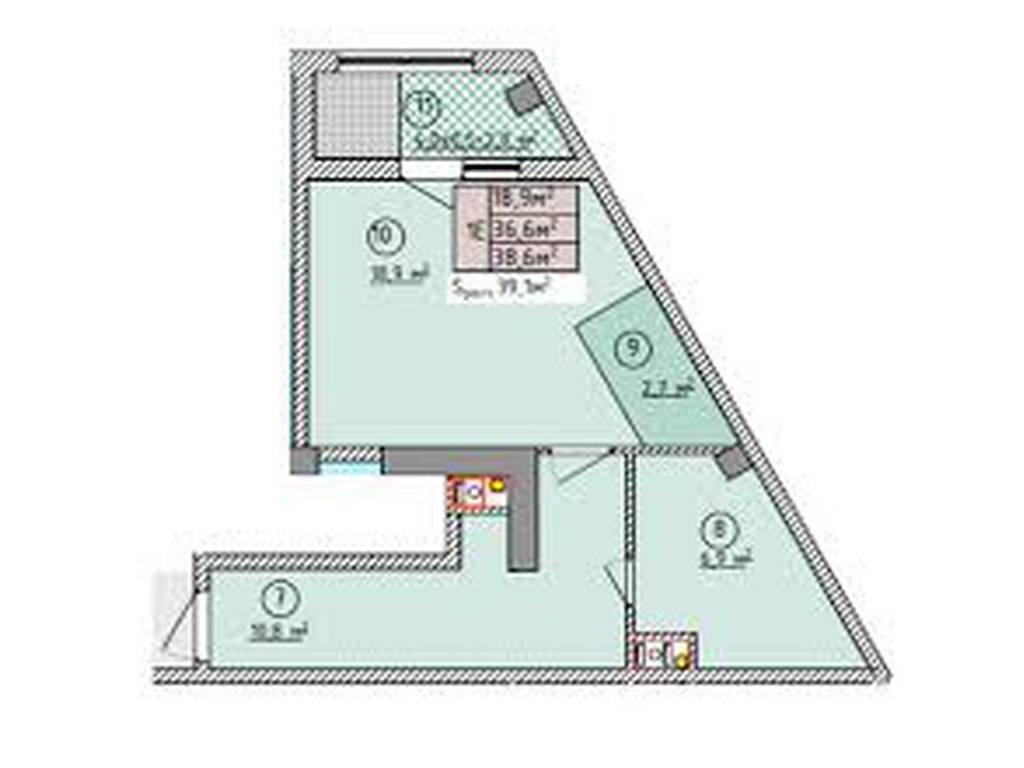 1-комнатная квартира, 38.70 м2, 35991 у.е.