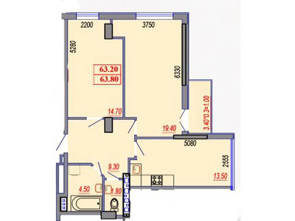 2-комнатная квартира, 64.00 м2, 71775 у.е.