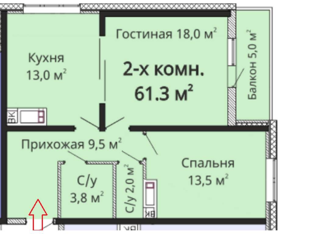 2-комнатная квартира, 66.00 м2, 84100 у.е.