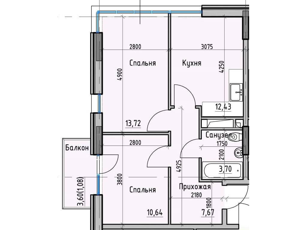 2-комнатная квартира, 49.00 м2, 43922 у.е.