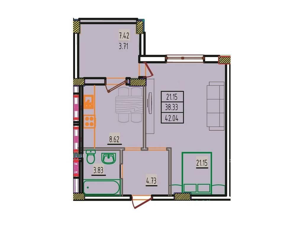1-комнатная квартира, 42.04 м2, 23542 у.е.