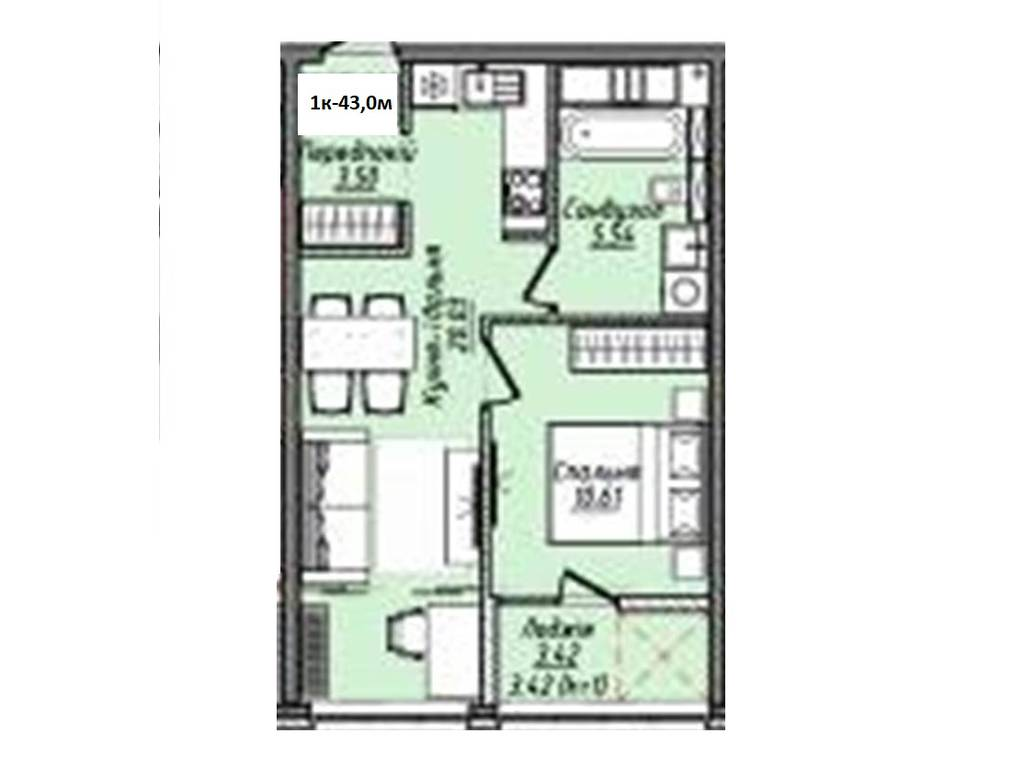 1-комнатная квартира, 43.00 м2, 33786 у.е.