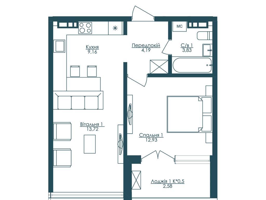 1-комнатная квартира, 46.40 м2, 85312 у.е.