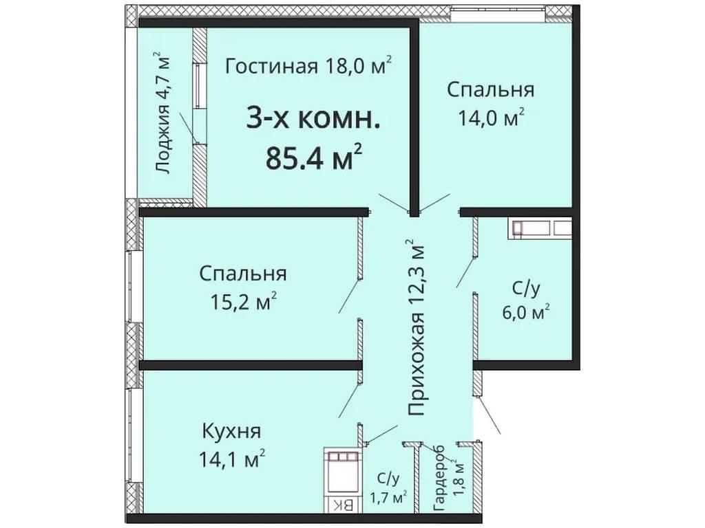 3-комнатная квартира, 84.00 м2, 118000 у.е.