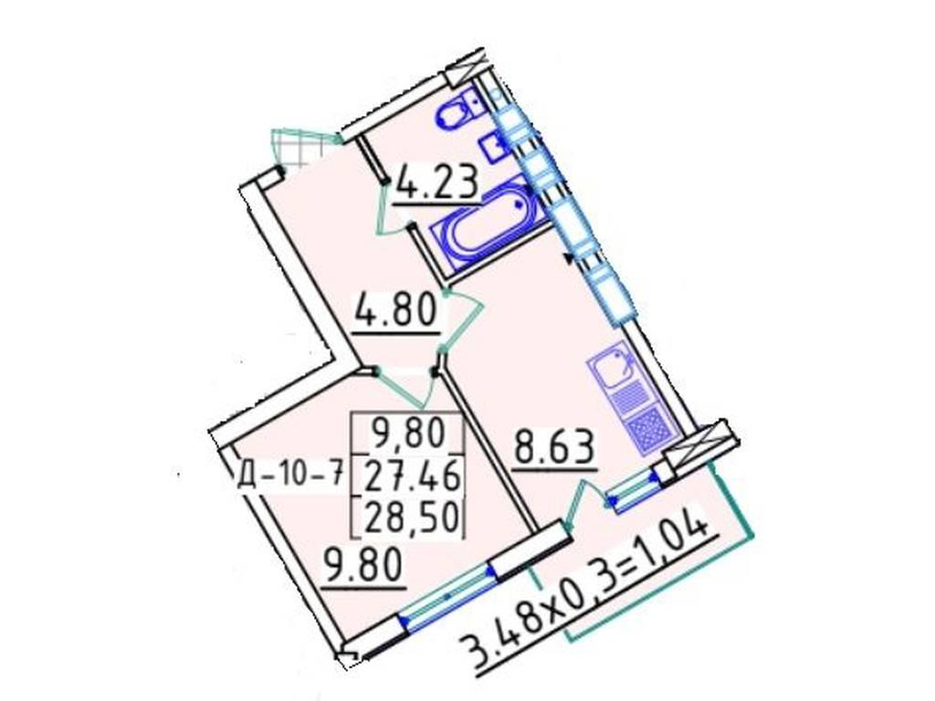 1-комнатная квартира, 28.50 м2, 23000 у.е.