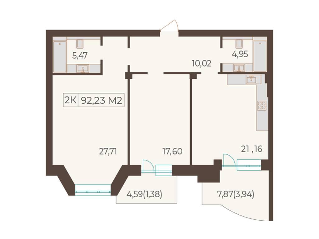 2-комнатная квартира, 92.23 м2, 166014 у.е.