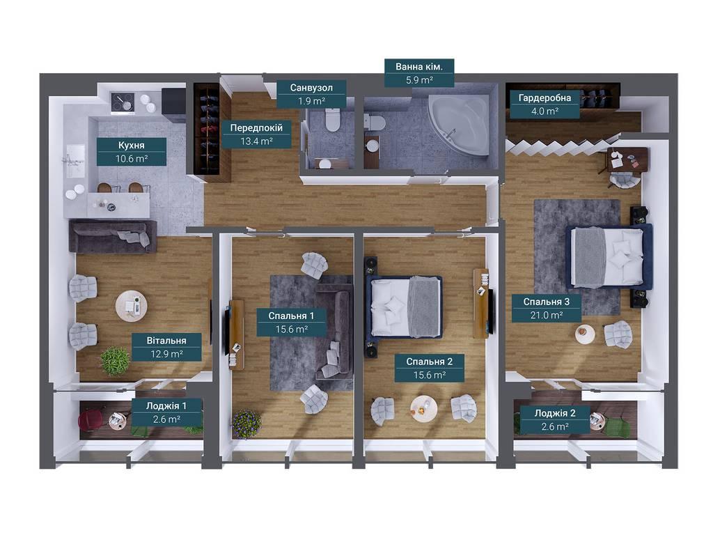 3-комнатная квартира, 106.00 м2, 199000 у.е.