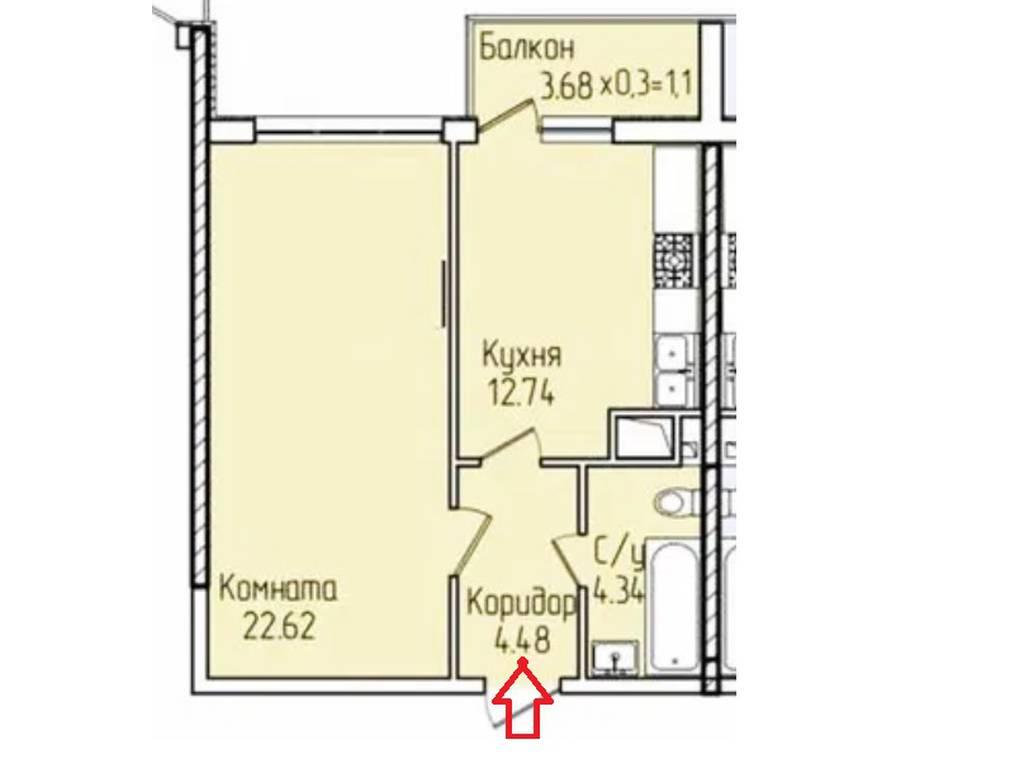 1-комнатная квартира, 43.10 м2, 43500 у.е.