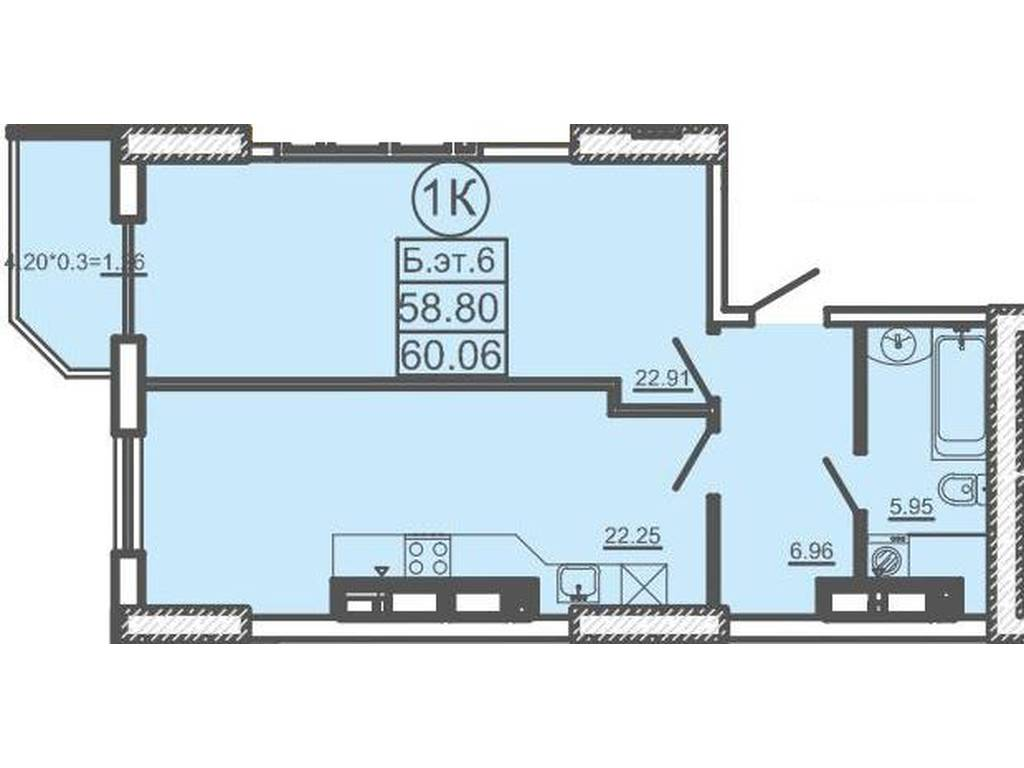 1-комнатная квартира, 62.00 м2, 65000 у.е.