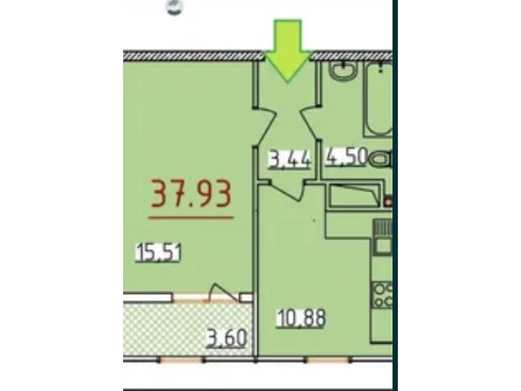 1-комнатная квартира, 38.00 м2, 44000 у.е.