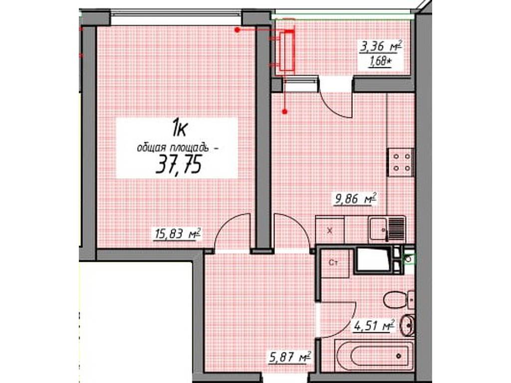 1-комнатная квартира, 37.75 м2, 44800 у.е.