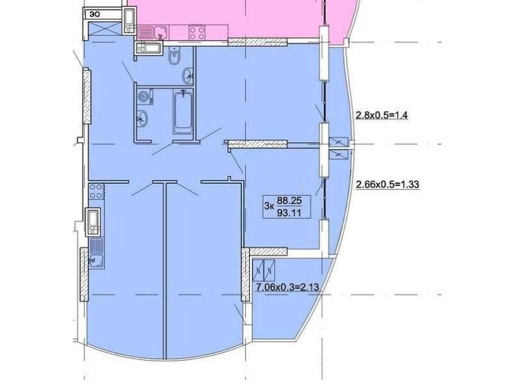 3-комнатная квартира, 92.00 м2, 111000 у.е.