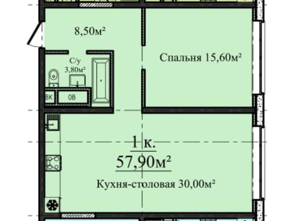 1-комнатная квартира, 57.90 м2, 58000 у.е.