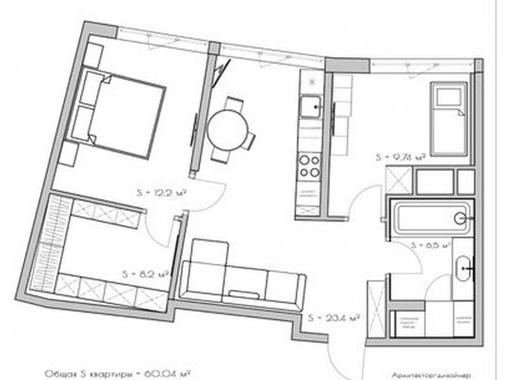 2-комнатная квартира, 60.00 м2, 130000 у.е.
