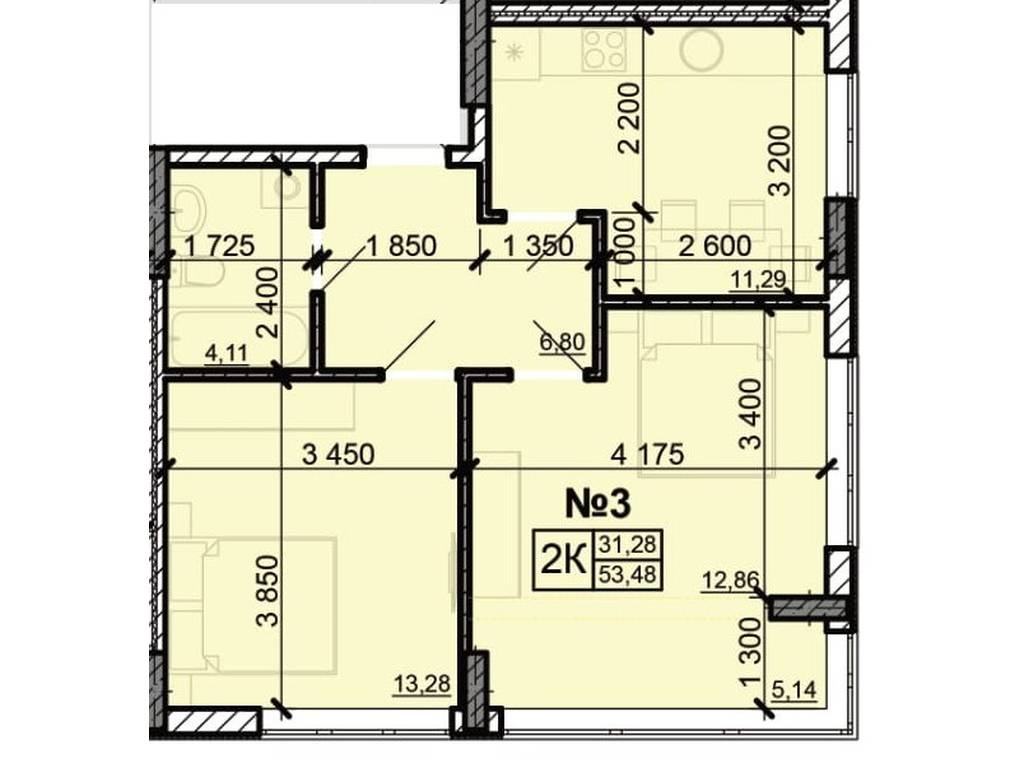 2-комнатная квартира, 53.48 м2, 31821 у.е.