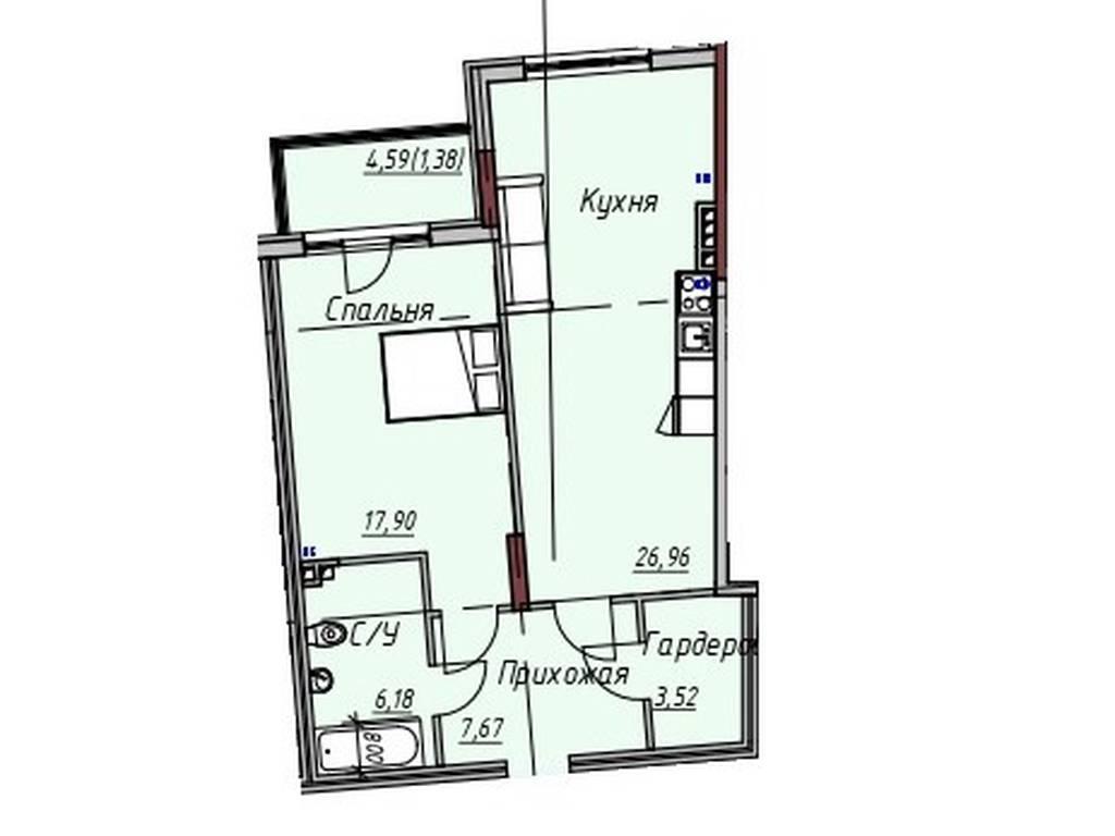 1-комнатная квартира, 63.61 м2, 76968 у.е.