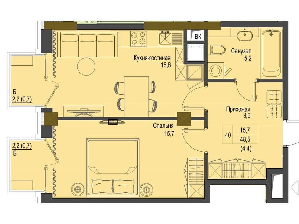 1-комнатная квартира, 48.50 м2, 77600 у.е.