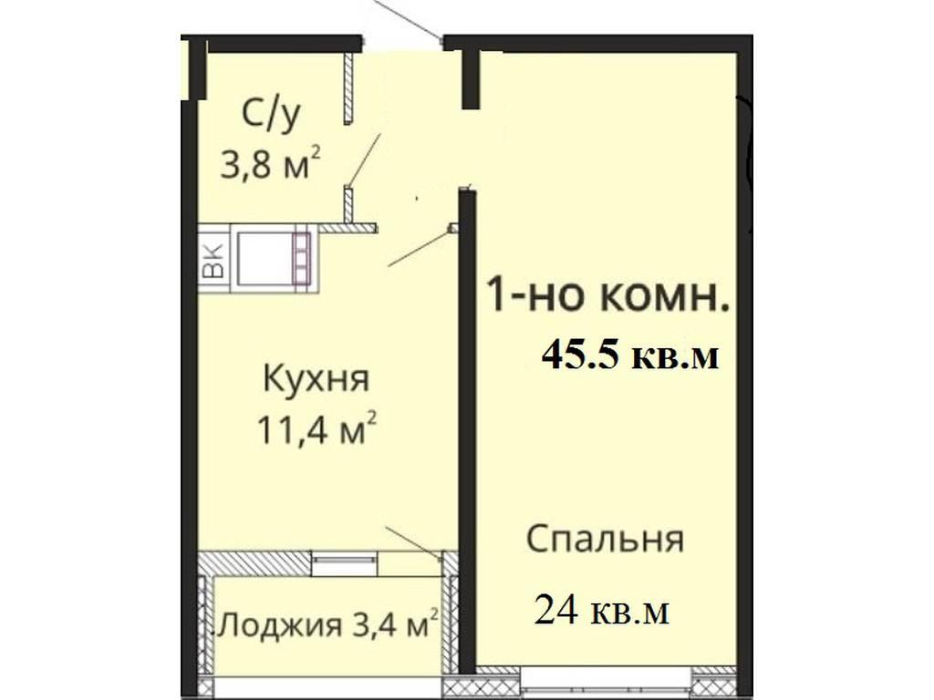 1-комнатная квартира, 45.50 м2, 40000 у.е.