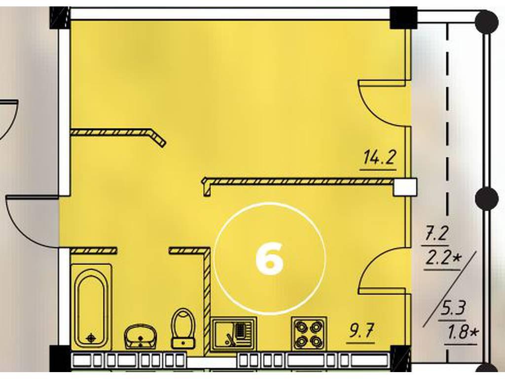 1-комнатная квартира, 33.70 м2, 28900 у.е.