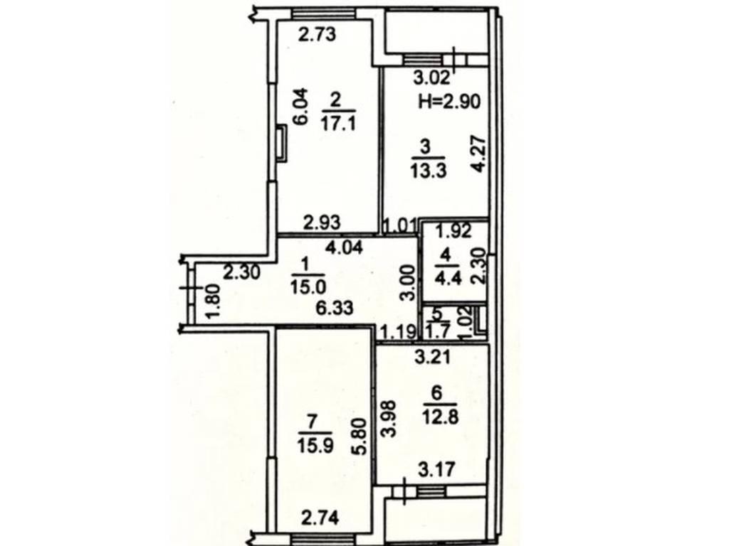 3-комнатная квартира, 88.70 м2, 52000 у.е.