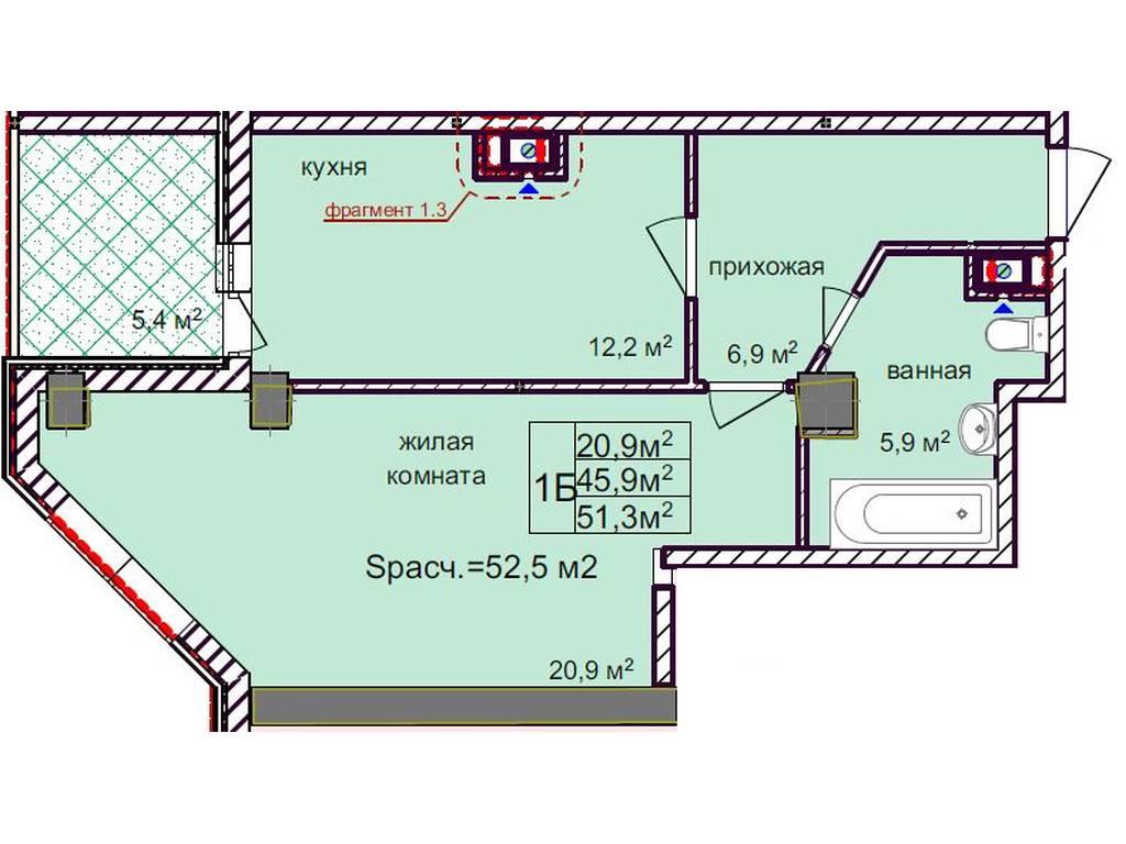 1-комнатная квартира, 53.70 м2, 79000 у.е.