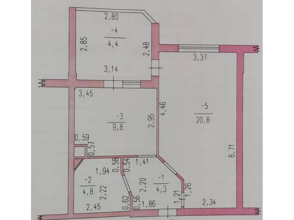 1-комнатная квартира, 44.10 м2, 46500 у.е.