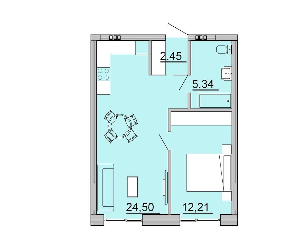 1-комнатная квартира, 44.50 м2, 51264 у.е.