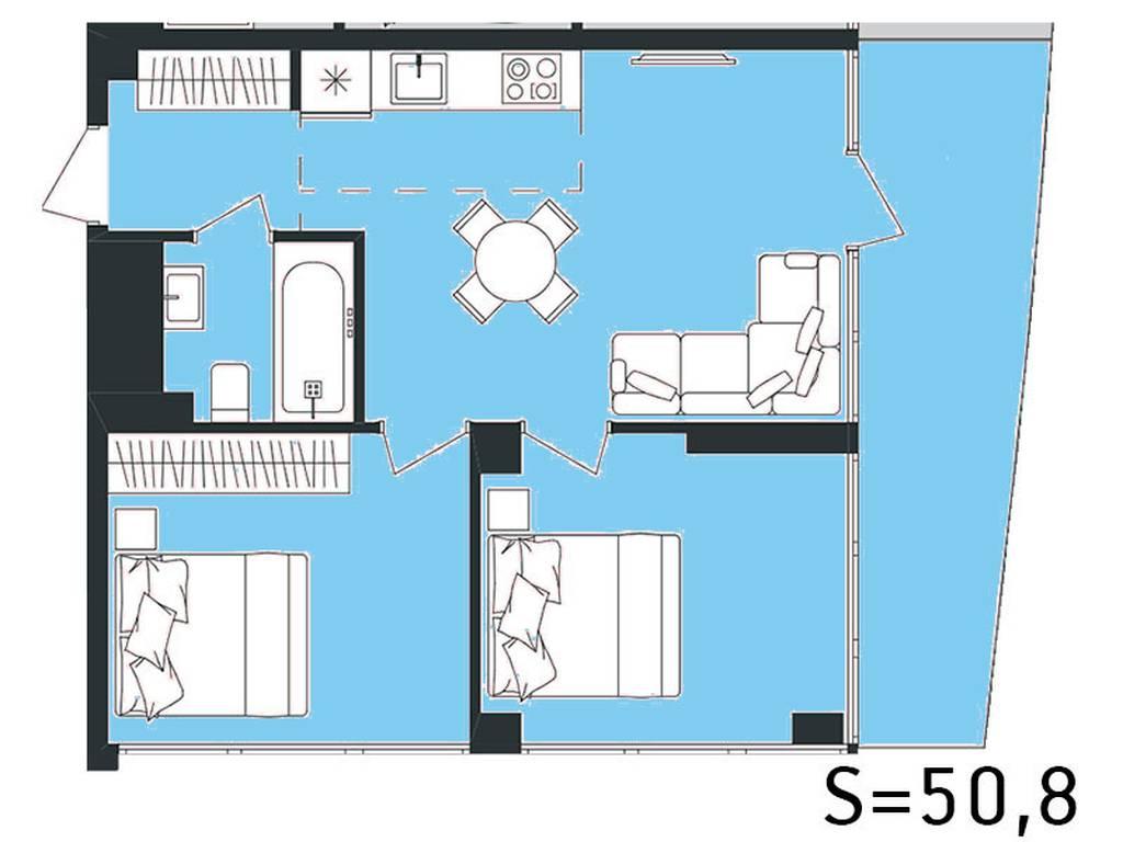 2-комнатная квартира, 54.64 м2, 61222 у.е.