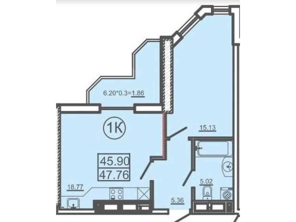 1-комнатная квартира, 47.99 м2, 51829 у.е.