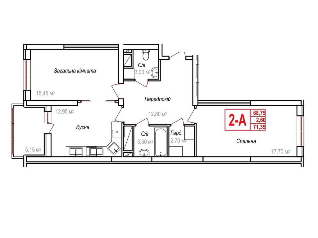 2-комнатная квартира, 71.35 м2, 52085 у.е.
