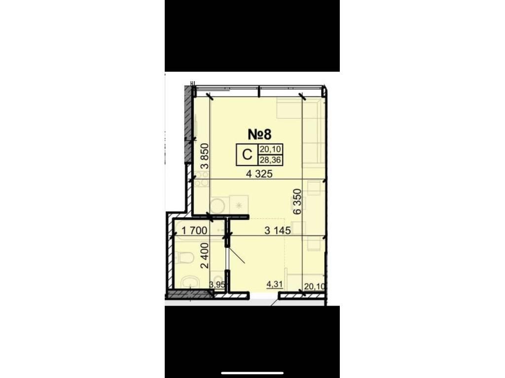 1-комнатная квартира, 28.40 м2, 19000 у.е.