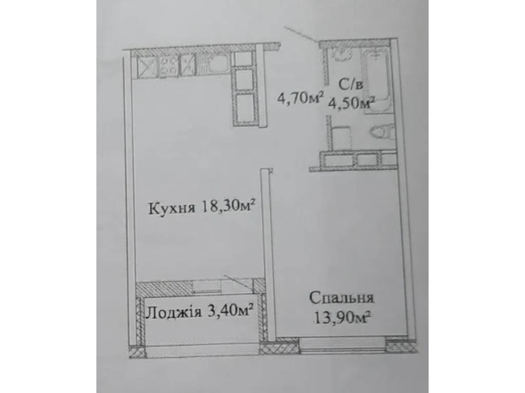 1-комнатная квартира, 43.00 м2, 36000 у.е.