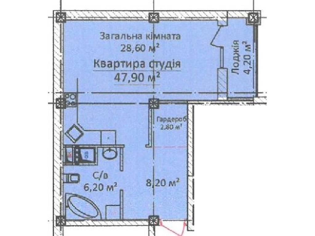 1-комнатная квартира, 47.90 м2, 66000 у.е.