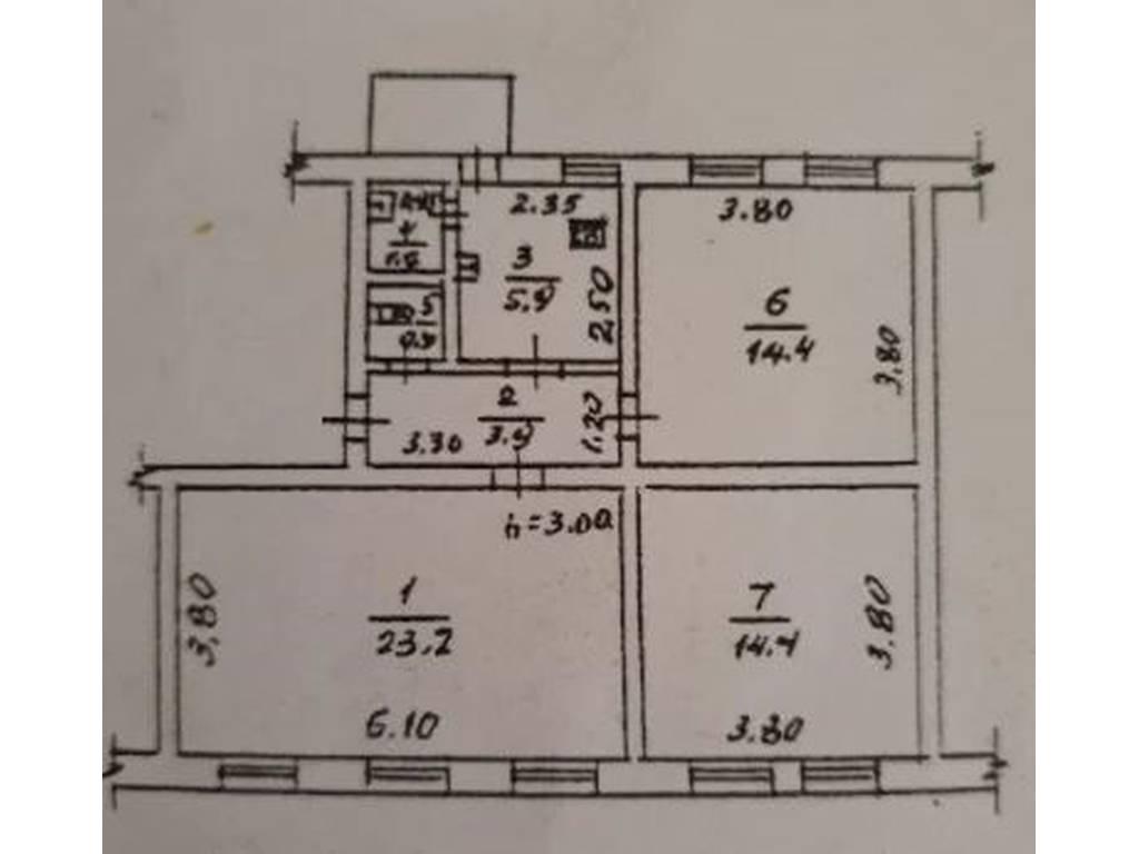 3-комнатная квартира, 66.00 м2, 60000 у.е.