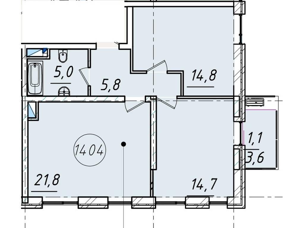 2-комнатная квартира, 63.10 м2, 49849 у.е.
