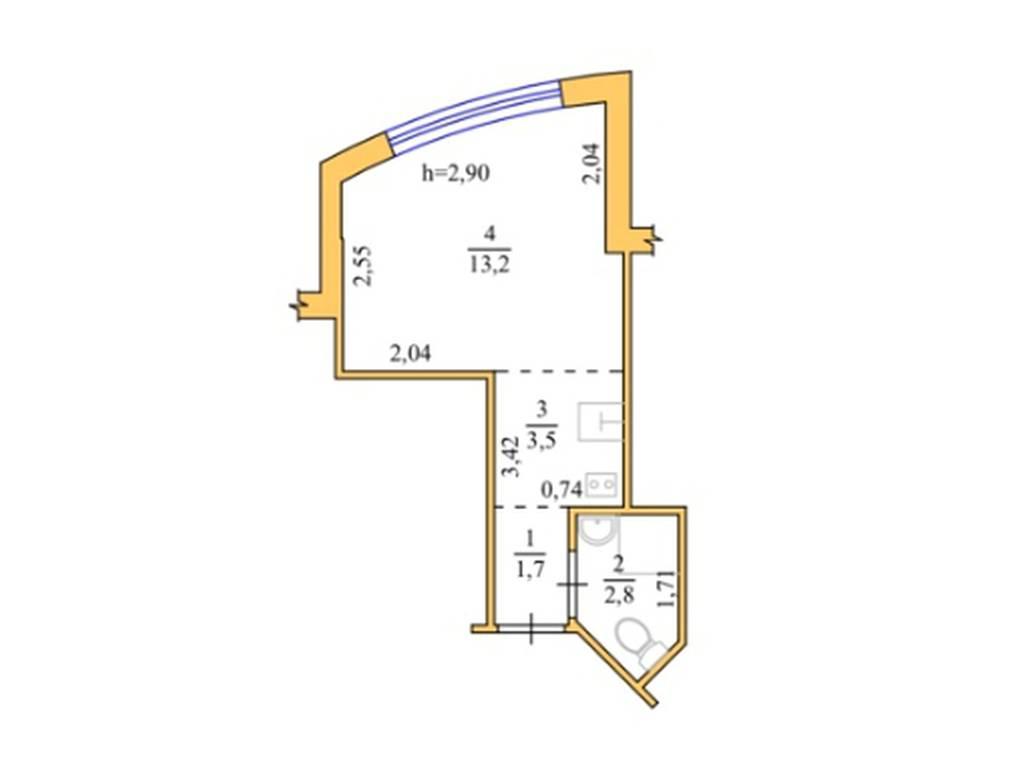 1-комнатная квартира, 21.20 м2, 24000 у.е.