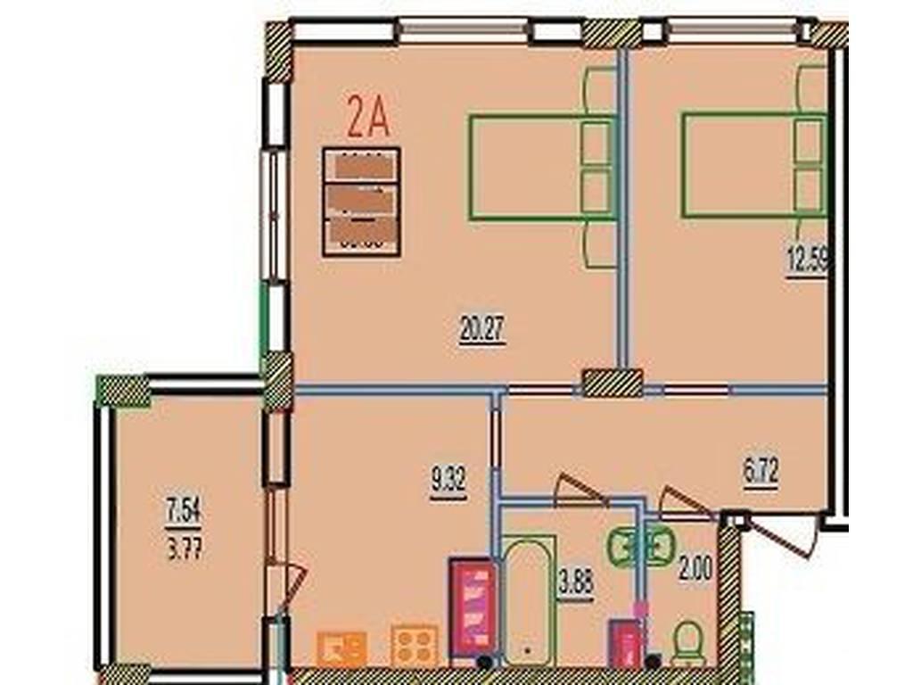 1-комнатная квартира, 41.99 м2, 24354 у.е.