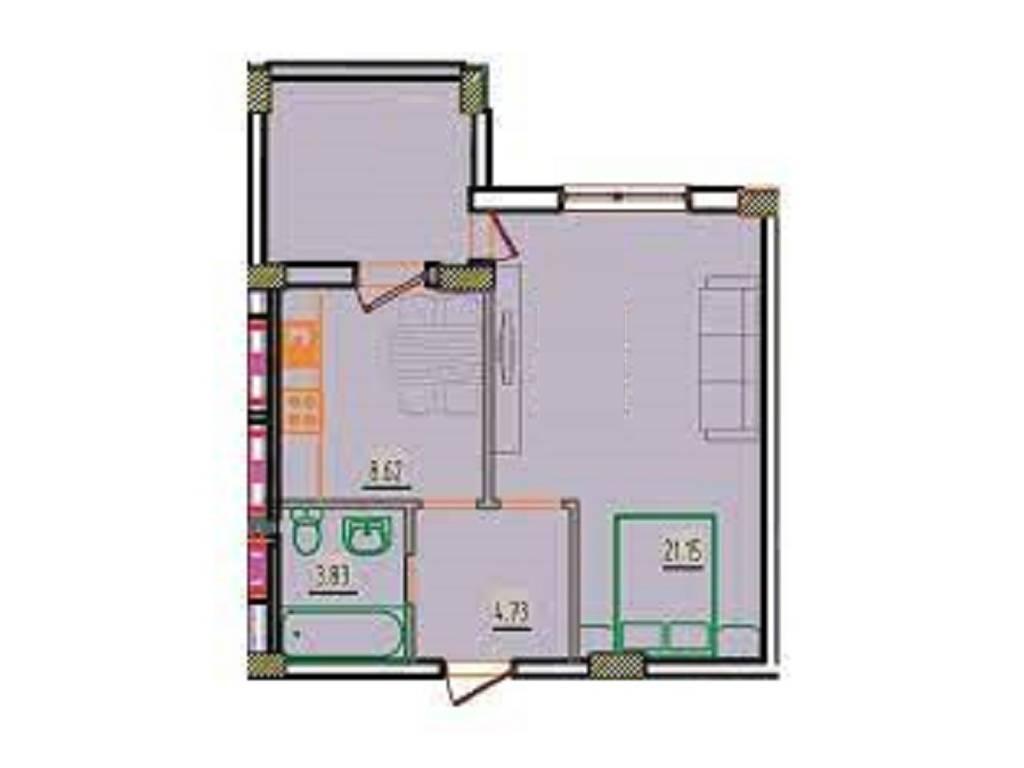 1-комнатная квартира, 42.05 м2, 24590 у.е.
