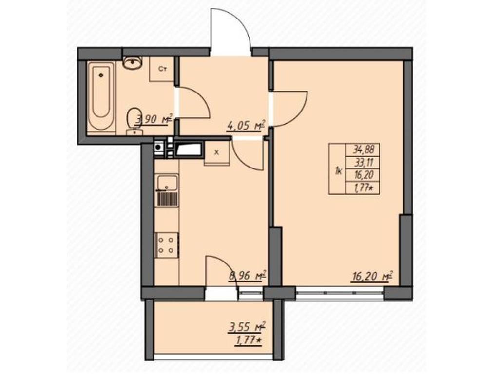1-комнатная квартира, 34.88 м2, 34000 у.е.