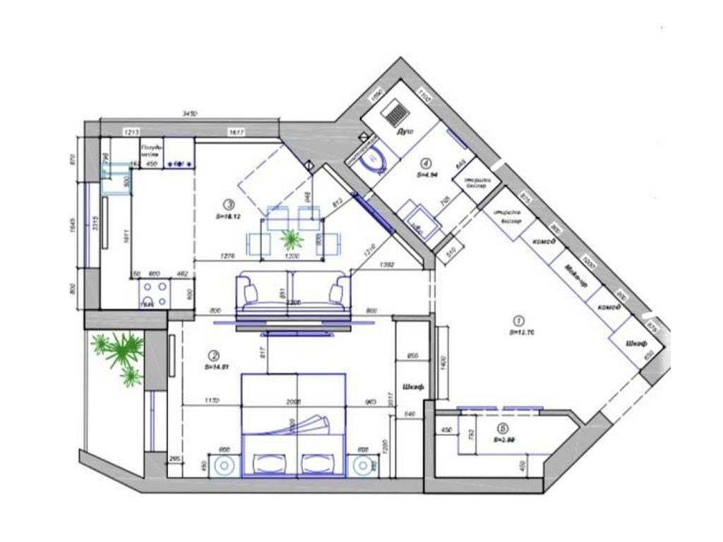 1-комнатная квартира, 55.00 м2, 97000 у.е.