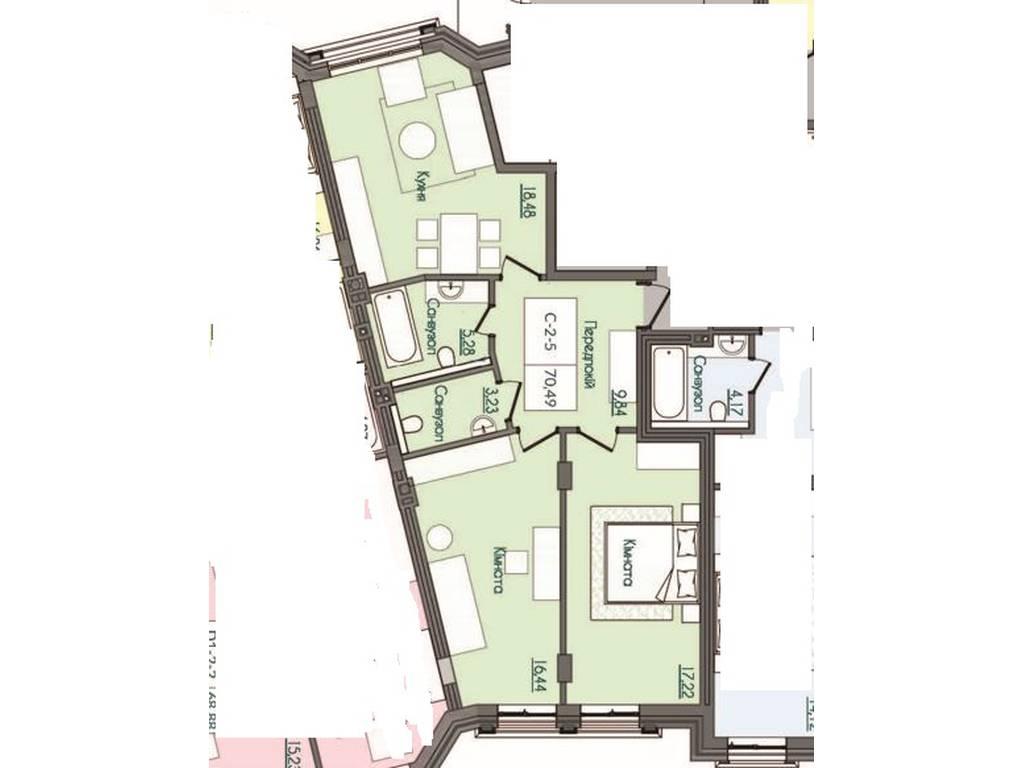2-комнатная квартира, 70.49 м2, 94662 у.е.