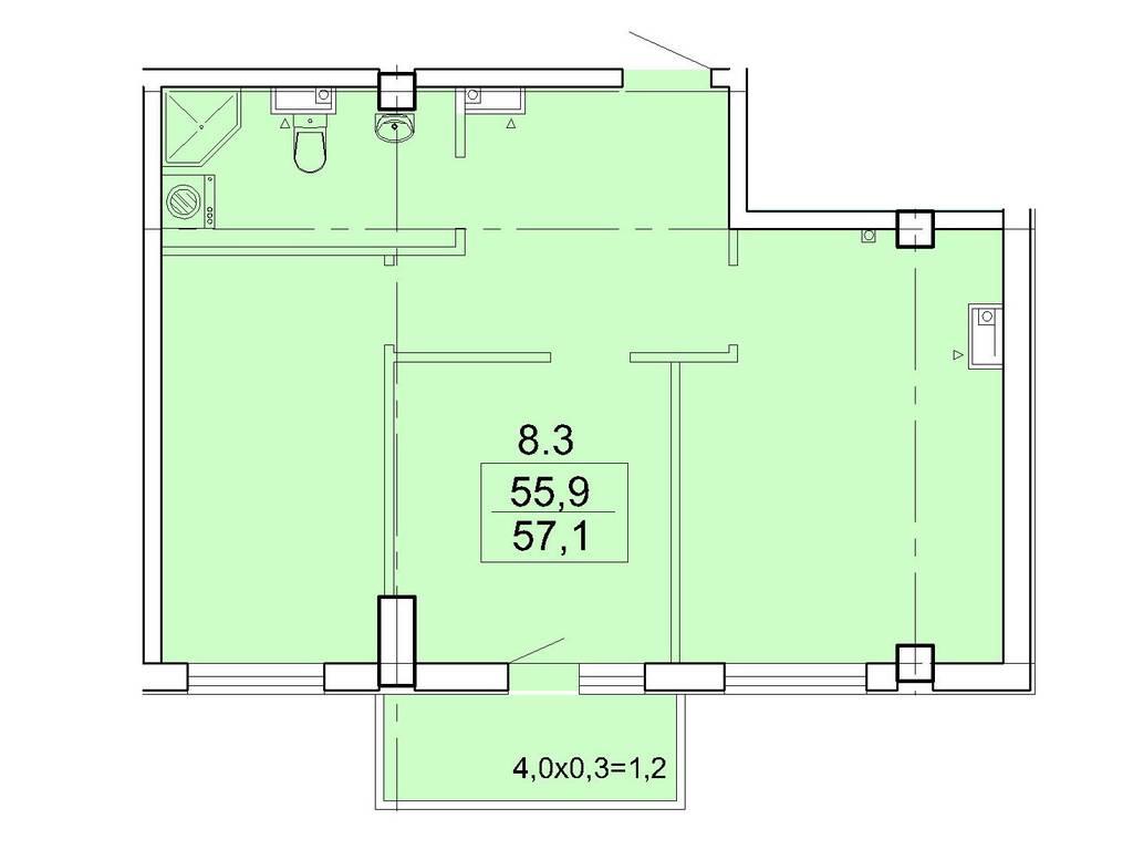 2-комнатная квартира, 57.10 м2, 81650 у.е.
