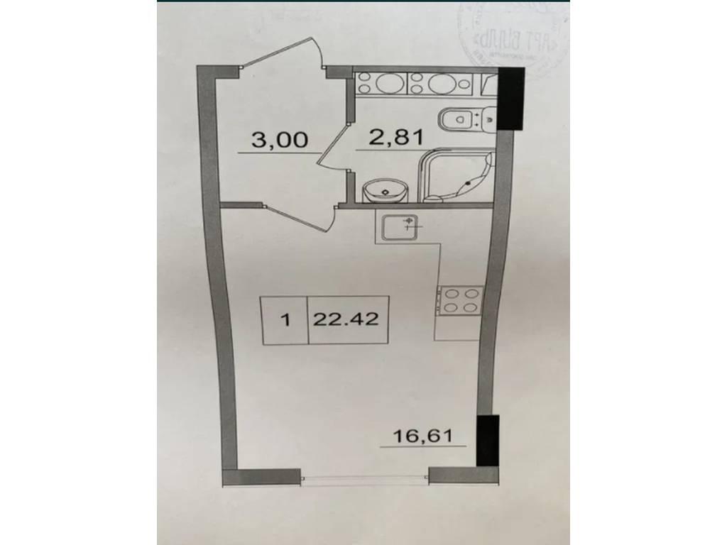 1-комнатная квартира, 23.00 м2, 23500 у.е.