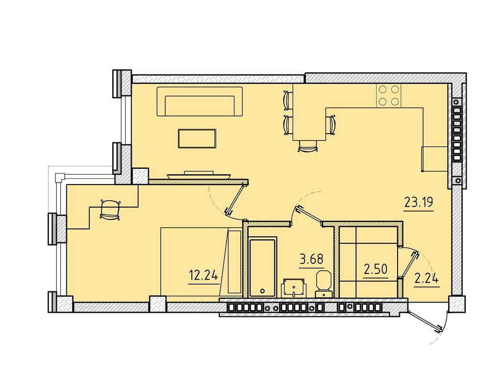 1-комнатная квартира, 43.85 м2, 52182 у.е.